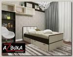 """Кровать 900 с ящиками akura """"Бруклин"""" (Венге/Белёный дуб)"""