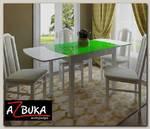 Стол обеденный gloss Шато 1,1/1,78 (ЛДСП Белая/Oracal 641-062 светло-зеленый)